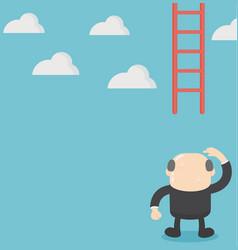 Businessman missing ladder climbing upwards vector