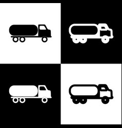 Car transports sign black and white icons vector