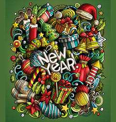 cartoon doodles new year vector image