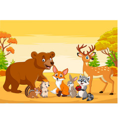 cartoon wild animals in autumn forest vector image