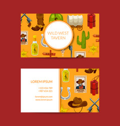 cartoon wild west elements business card vector image