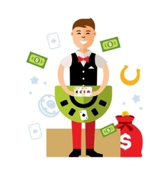 Casino dealer Flat style colorful Cartoon vector