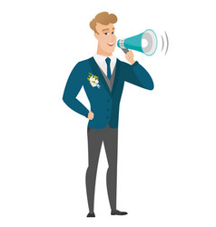 Caucasian groom talking into loudspeaker vector