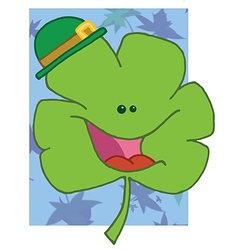 Cheerful Green Clover Wearing A Green Hat vector image