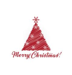 christmas tree greetings card image vector image