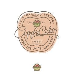 cider logo label retro lettering apple basket vector image