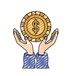 Color crayon silhouette hands with floating coin vector