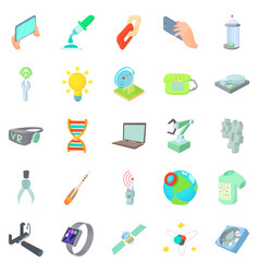 Cosmic technology icons set cartoon style vector