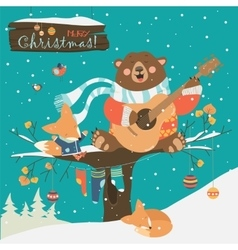 Cute bear and little fox celebrating Christmas vector image