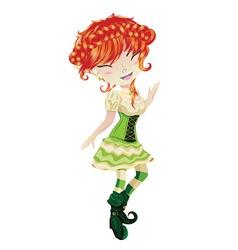 Cute leprechaun girl2 vector