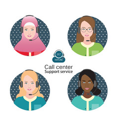 diverse people of female customer support operator vector image