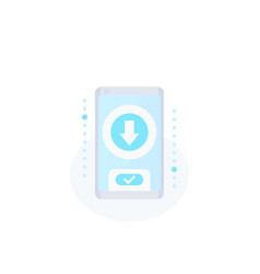 Download app icon with smartphone vector