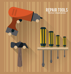 drill hammer screwdriver tool icon graphic vector image