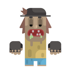 drooling tramp in stained t-shirt and hat vector image