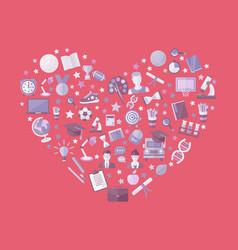 educationknowlege icon set in heart symbol vector image