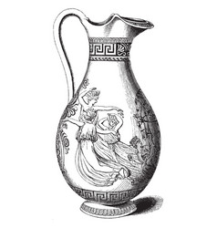 engraved greek pitcher used in elaborate vector image