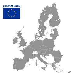 european union map eu member countries europe vector image