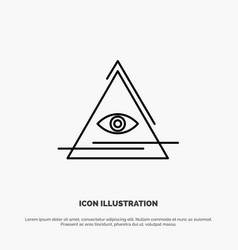 Eye illuminati pyramid triangle line icon vector
