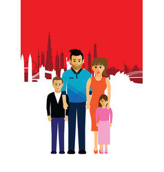 Family on a cityscape background vector