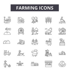 farm line icons for web and mobile design vector image