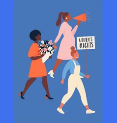 Feminism concept a group women different vector