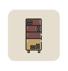 Flat color bookcase icon vector