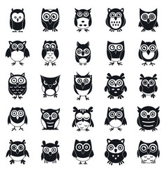 Fun owl icons set simple style vector