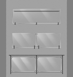 glass fence metal handrail realistic set vector image