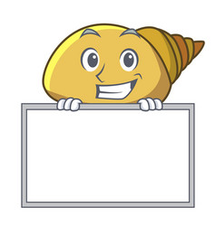 Grinning with board mollusk shell character vector