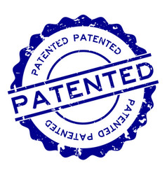 Grunge blue patented word round rubber seal stamp vector