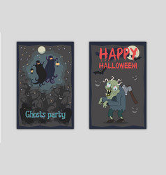 halloween party flyers with ghosts and zombie vector image