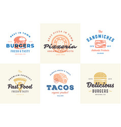Hand drawn fast food logos and labels with modern vector