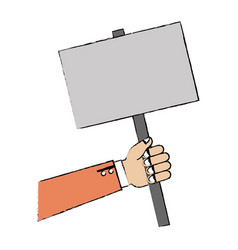 hand human with protest banner vector image