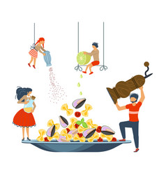 happy family cooking together a seafood pasta vector image