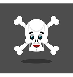 Happy skull emotion Crossbones lucky skeleton head vector image