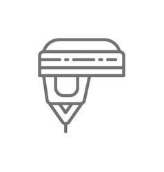 hockey helmet protection uniform line icon vector image