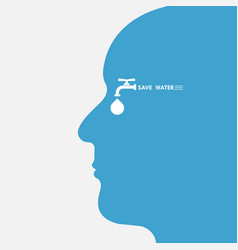 Human head with water drop and water tap icon vector