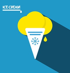 Ice Cream Icon Flat Design Long Shadow on Blue vector
