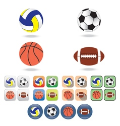 Icons of balls for different sports vector image