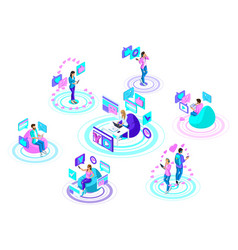isometric teenagers with modern gadgets vector image