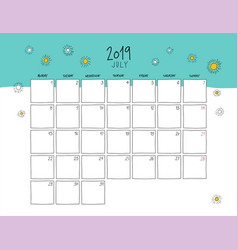 july 2019 wall calendar doodle style vector image
