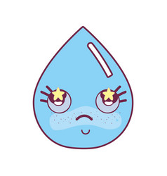 Kawaii nice shy drop water vector