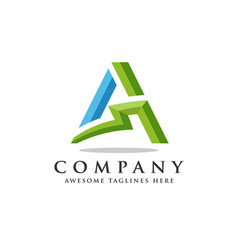 letter a lightning logo icon design template vector image