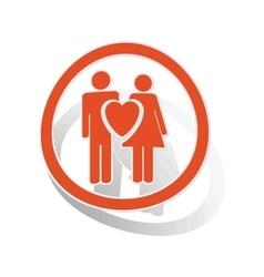 Love couple sign sticker orange vector image