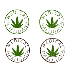 Medical marijuana emblems Cannabis leaf silhouette vector image