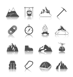 Mountain icons black vector