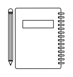 Notebook school with pencil vector
