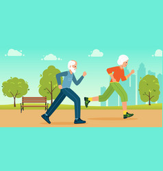 older people play sports in city park vector image