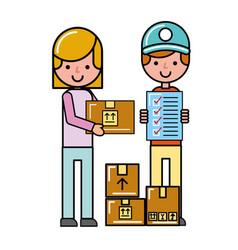 Operator and customer girl check list boxes online vector
