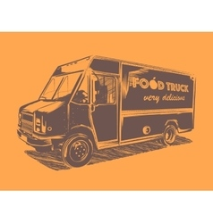 Painted food truck on a orange background vector